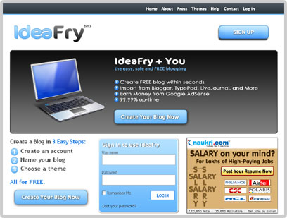 IdeaFry - New and Free Blogging Platformg