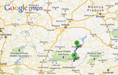 Google Maps - Khandwa to Burhanpur