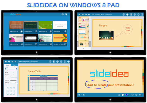 SlideIdea on Windows 8 Pad