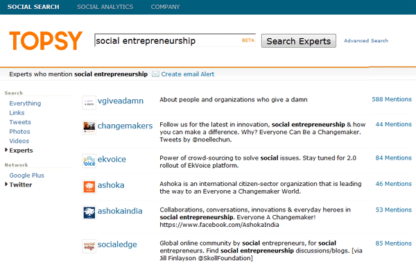 Find Experts onTopsy