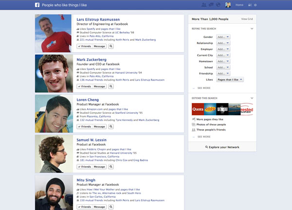 Facebook Graph Search - People Search
