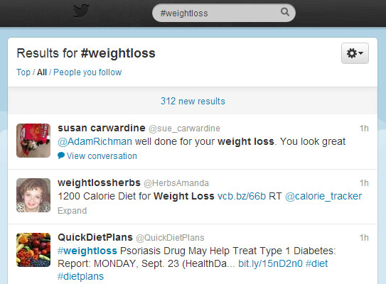 Weight Loss and Twitter #weightloss