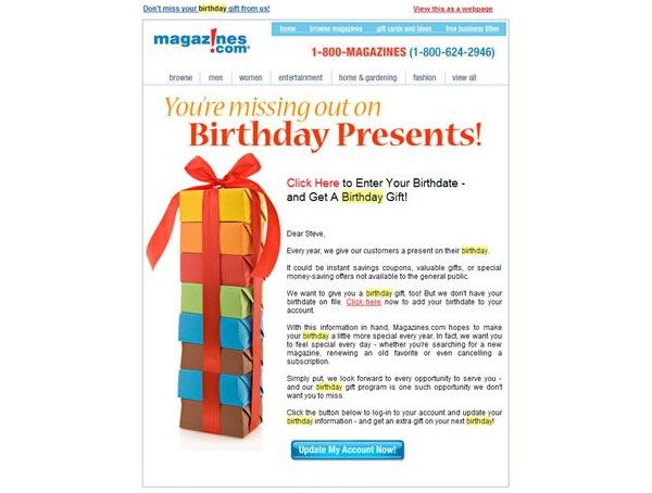 "magazines.com ""you're missing out on birthday presents"""