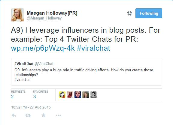 Engage in Twitter chats frequently